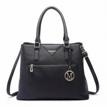 LT6611 - Miss Lulu Shopper Tote Bag With Pocket in Faux Leather Black