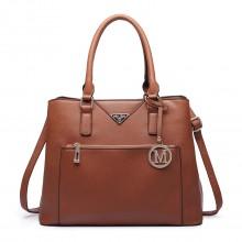 LT6611 - Miss Lulu Front Pocket Multi Compartment Briefcase Shoulder Bag Brown