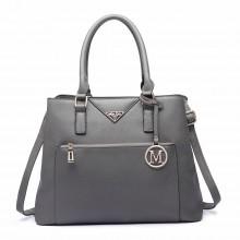 LT6611 - Miss Lulu Front Pocket Multi Compartment Briefcase Shoulder Bag Grey