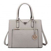 LT6611 - Miss Lulu Shopper Tote Bag With Pocket in Faux Leather Light Grey