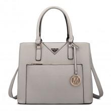 LT6611 - Miss Lulu Front Pocket Multi Compartment Briefcase Shoulder Bag Light Grey