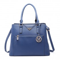LT6611-MISS LULU Shopper Tote Bag With Pocket in Faux Leather navy