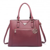 LT6611-MISS LULU Shopper Tote Bag With Pocket in Faux Leather rufous
