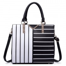LT6613 - Miss Lulu Split Front Striped Leather Look Tote Bag Black & White