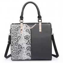 LT6613-MISS LULU Split front snake print  faux leather tote bag Black