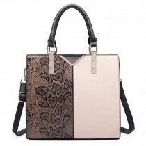 LT6613-MISS LULU Split front snake print  faux leather tote bag Brown