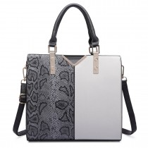 LT6613-MISS LULU Split front snake print  faux leather tote bag Grey