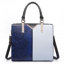 LT6613 - Miss Lulu Split Front Snake Print  Faux Leather Tote Bag Navy