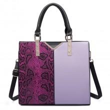 LT6613 - Miss Lulu Split Front Snake Print  Faux Leather Tote Bag Purple