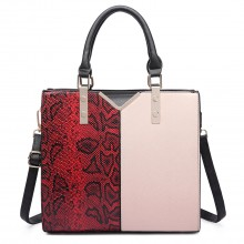 LT6613 - Miss Lulu Split Front Snake Print  Faux Leather Tote Bag Red