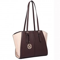 LT6614- Miss Lulu Adjustable Handles Tote Shoulder Handbag coffee