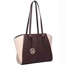 LT6614 - Miss Lulu Leather Look Adjustable Handles Winged Tote Handbag Coffee