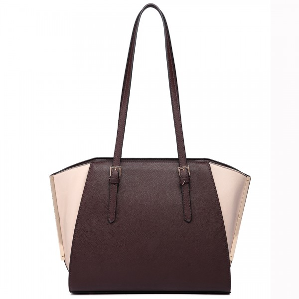 LT6614 - Miss Lulu Leather Look Adjustable Handles Winged Tote Handbag Coffee