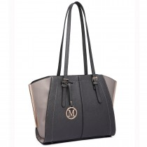 LT6614- Miss Lulu Adjustable Handles Tote Shoulder Handbag gray