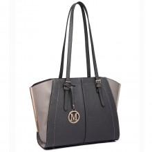 LT6614 - Miss Lulu Leather Look Adjustable Handles Winged Tote Handbag Grey