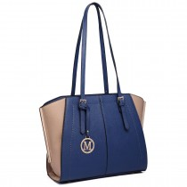 LT6614- Miss Lulu Adjustable Handles Tote Shoulder Handbag navy