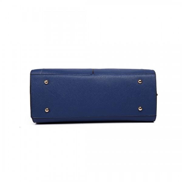 LT6614 - Miss Lulu Leather Look Adjustable Handles Winged Tote Handbag Navy
