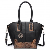 LT6615-Miss Lulu Women Snake Print Shoulder Handbag black