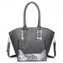 LT6615-Miss Lulu Women Snake Print Shoulder Handbag Grey