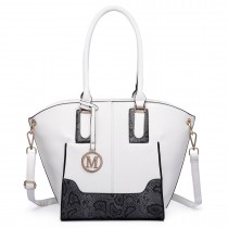 LT6615-Miss Lulu Women Snake Print Shoulder Handbag white