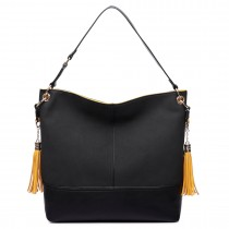 LT6616- Miss Lulu Frosted Leather Tassel Slouch Hobo Bag Black