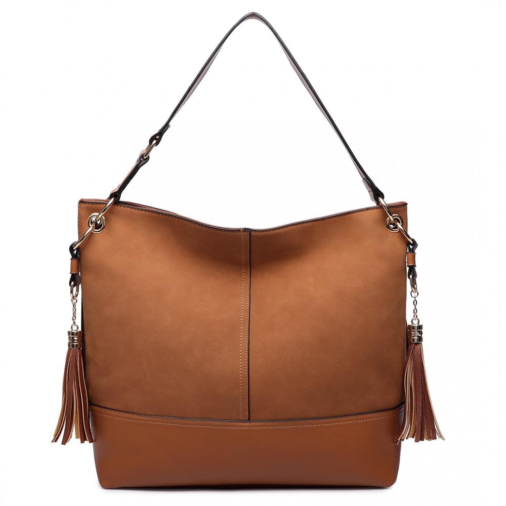 LT6616- Miss Lulu Frosted Leather Look Tassel Slouch Hobo ...