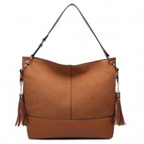 LT6616- Miss Lulu Frosted Leather Look Tassel Slouch Hobo Bag Brown