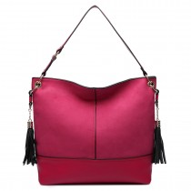 LT6616- Miss Lulu Frosted Leather Look Tassel Slouch Hobo Bag Burgundy