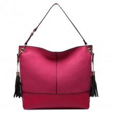LT6616- Miss Lulu Frosted Leather Look Tassel Slouch Hobo Bag Burgundy