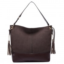 LT6616- Miss Lulu Frosted Leather Look Tassel Slouch Hobo Bag Coffee