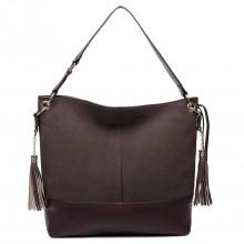LT6616- Miss Lulu Frosted Leather Look Tassel Slouch Hobo Bag Coffee