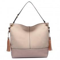 LT6616- Miss Lulu Frosted Leather Look Tassel Slouch Hobo Bag Camel