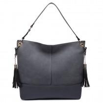 LT6616- Miss Lulu Frosted Leather Tassel Slouch Hobo Bag Grey