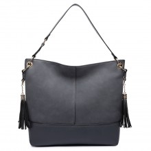LT6616- Miss Lulu Frosted Leather Look Tassel Slouch Hobo Bag Grey