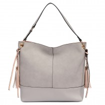 LT6616 - Miss Lulu Frosted Leather Tassel Slouch Hobo Bag Light Grey