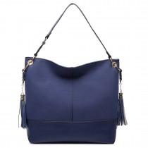 LT6616- Miss Lulu Frosted Leather Look Tassel Slouch Hobo Bag Navy