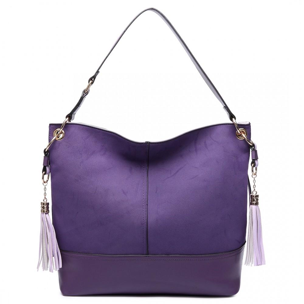 LT6616- Miss Lulu Frosted Leather Look Tassel Slouch Hobo Bag Purple 7b53f8a1e7