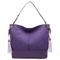 LT6616- Miss Lulu Frosted Leather Look Tassel Slouch Hobo Bag Purple