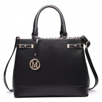 LT6617-MISS LULU Ladies Faux Leather Strappy Tote Bag black
