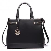 LT6617 - Miss Lulu Ladies Leather Look Strappy Tote Bag Black