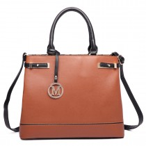 LT6617 - Miss Lulu Ladies Faux Leather Strappy Tote Bag Brown