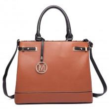 LT6617 - Miss Lulu Ladies Leather Look Strappy Tote Bag Brown