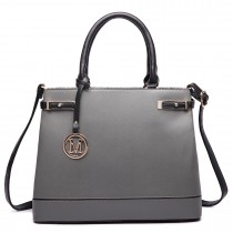 LT6617 - Miss Lulu Ladies Faux Leather Strappy Tote Bag Grey