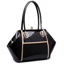 LT6618 - Miss Lulu Patent Evening Shoulder Bag Black
