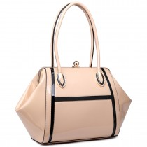 LT6618 - Miss Lulu Patent Evening Shoulder Bag Nude