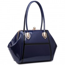 LT6618 - Miss Lulu Patent Evening Shoulder Bag Navy
