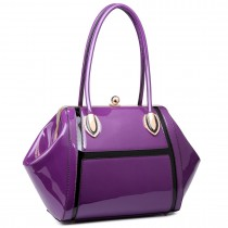 LT6618 - Miss Lulu Patent Evening Shoulder Bag Purple