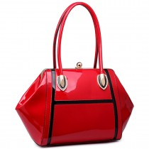 LT6618 - Miss Lulu Patent Evening Shoulder Bag Red