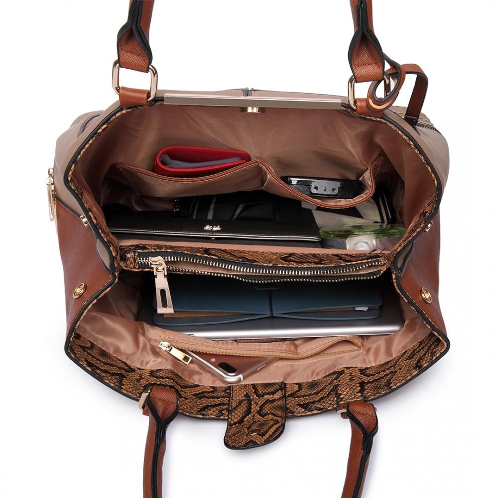 lt6619 damenmode leder handtasche schulter beutel braun. Black Bedroom Furniture Sets. Home Design Ideas