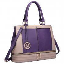 LT6619-Ladies Fashion Faux Leather Handbag Patchwork Tote Shoulder Bag Purple